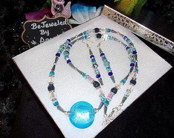 Women's 22 Inch Celestial Crystal Necklace, Drop earrings, Crystal, Blue, Silver, Lampworked bead, Jewelry set, Silver Rhinestone Spacers