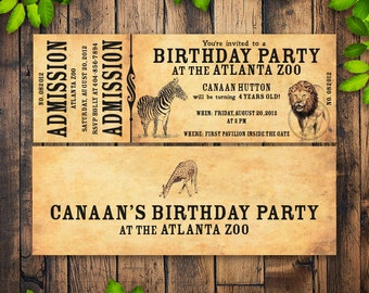 Zoo Birthday Party Invitation, Printable Zoo Ticket Invitation, Kid's Birthday Party Invitation with Zoo Animals, Safari Ticket, Wildlife