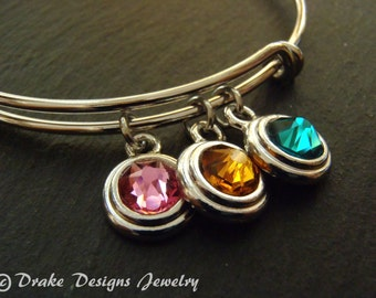 Personalized birthstone bracelet for mom birthstone bangle mothers bracelet