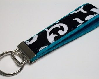 Fabric Key Fob, Key Chain, Key Ring, Key Holder, Wristlet Key Fob, Wristlet Keychain, Fabric Key fobs-Reverse teal