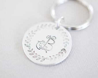 Personalized Initial Keychain - Hand stamped Circle Key Chain Accessory