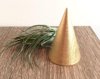 Metallic Gold Wood Ring Stand, Modern Ring Holder, Ring Cone, Minimalist Ring Holder, Wood Ring Cone, Wood Cone, Ring Tree