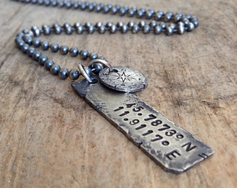 Men's Custom Coordinates Necklace, Distressed Necklace, Rustic Hand Stamped Necklace, Sterling Silver, Personalized Gift, Father's Day
