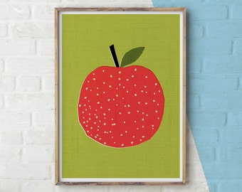 Apple Print, Playroom Printable, Kitchen Decor Apple, Apple Wall Art, Apple Printable, Printable Wall Art, Kitchen Wall Art, Fruit, Nursery,