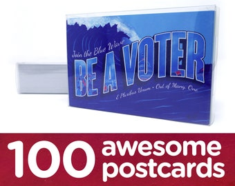 "Political Postcards: Set of 100 ""Blue Wave"" postcards, perfect for writing to your reps or get out the vote"