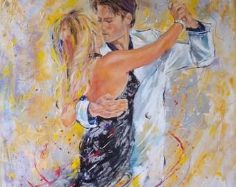 Original tango painting,figurative painting,tango painting,tango dancers,tango art,couple,couple dancing,modern tango,couple dancing art