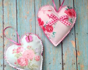 Valentine Vintage Hearts / Vintage Fabric Hanging Hearts / set of 2 Hearts / Fabric Hearts / Floral Pattern Fabric Hanging Hearts - Ornament