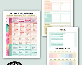 Vacation Planning PRINTABLE - 8.5 x 11 inches (Ultimate Packing List, Research Places to Go, Travel Itinerary, Calendar at a Glance)