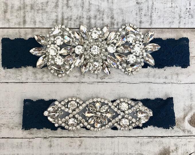 Something Blue Bridal Garter, navy garter, NO SLIP Lace Wedding Garter Set, bridal garter set NAVY D26-D02S