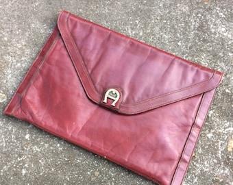 Vintage Etienne Aigner Envelope Clutch Oxblood Leather Purse