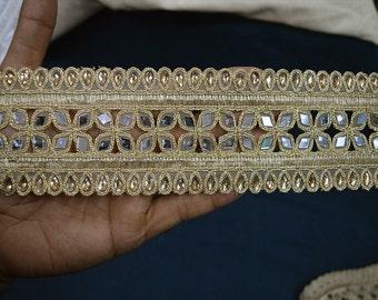 Gold Lace Trim Indian Laces Trim by the Yard Indian Saree Border Mirror Trim Wholesale Decorative Trim Sari Border  Crafting Ribbon