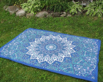 Stake Down Picnic Blanket, Blue, Teal and White Elephant Bohemian Tapestry Design