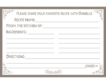 "80 Bridal Shower Recipe Cards   PERSONALIZED  - Gray - Gray Recipe Cards - Slate Recipe Cards -  4x6"" Size"