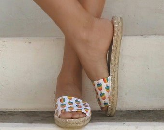 Ice Cream Print Espadrilles Sandals, Slide Shoes, Open Toe Shoes, Flat Summer Shoes for Women. Handmade Greek Sandals, Gift for Her