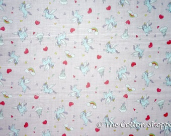 Kokka Pastel Pop pegasus Fabric ~ Double Gauze Fabric ~ Japanese Fabric ~ Kids Fabric ~ Quilting Fabric ~ Home Decor Fabric ~ Apparel Fabric