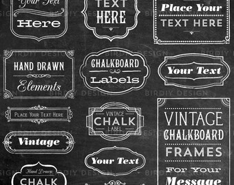 Rustic Frames Clipart - Rustic Boho Chalkboard Chalk Clipart - Boho Wedding Clipart Clip art - EPS and PNG  - Instant Download