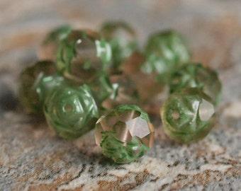 Matte Rosaline Green Picasso Czech Bead  7x8mm Rosebud : 12 pc Czech Glass Bead