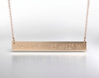 Engraved Coordinate Bar Necklace - Custom Coordinates Jewelry - Gold, Rose Gold, or Sterling - Custom Engraving - Engraved Jewelry