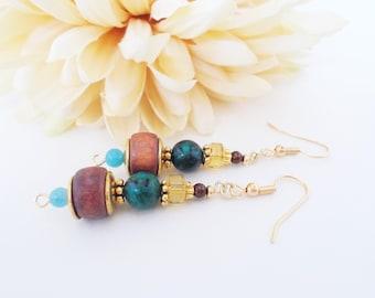 Boho Jewelry, Wood Earrings, Gift for Her, Boho Dangle Earrings, Bohemian Stone Beaded Earrings, Hippie Ethnic Jewelry, Gypsy Green Earrings