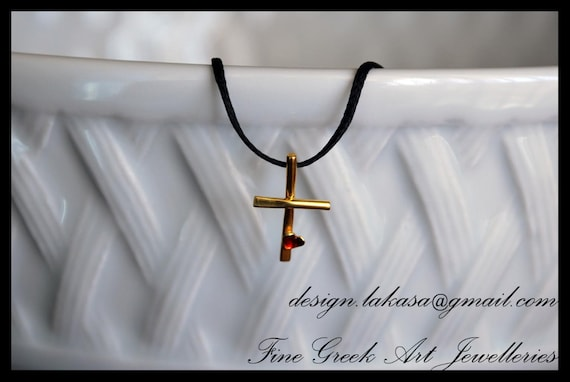 Necklace Enamel Red Heart Cross Sterling Silver Gold plated Handmade Religious Jewelry Fine Greek Art for her birthday Mother Day Baby Girl