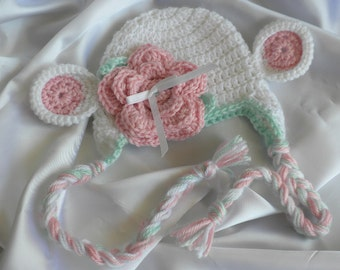 Crochet Baby Hat, Crocheted Baby Lamb Hat, White, Pink and Green Crochet Baby Hat, Newborn to Three Month Old Earflap Hat, Photo Prop Hat