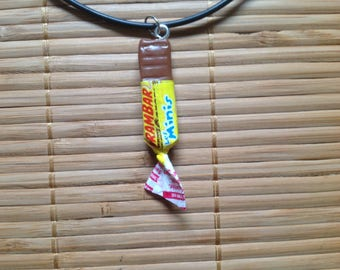 Rubber with caramel candy bar necklace