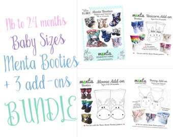 BABY BUNDLE 4 patterns menta booties pdf sewing pattern and tutorial NB to 24 months + moose, bunny and unicorn add-ons