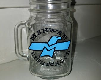 Mahwah Mason Jar with Handle hand painted by LifeofReillyDesigns