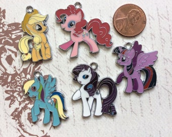 SET of 5 Bright and Colorful My Little Pony Enamel Metal Charms/ Pendant/Earrings /Jewelry Making/DIY