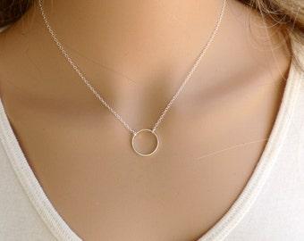 Circle Necklace, Silver Circle Necklace , Eternity Circle Necklace, Karma Necklace, Pendant Necklace ,Bridsmade Gift.