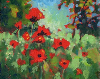 "Small  Paintings.  Unique Gift. ""Abundant Poppies""  6"" x 6"".  Original Art. Poppy Painting."
