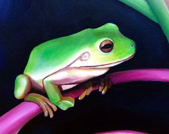 Green Tree Frog Original Oil Painting