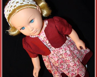 """American Girl Style 18"""" Doll Dress & Bolero Pink Floral Print with Solid Burgundy Jacket for School, Prom or Dress Up Doll Clothes"""