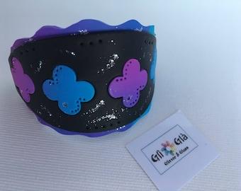 Polymer Clay bangle, bracelet, flowers, handmade, gift woman, birthday, woman's Day