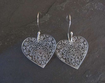 Heart  earrings  Swirl Design Perspex with handmade sterling silver earwires