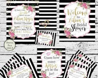 Black and white stripe fancy glitter invitation printables