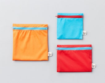 Popsicle trio ~ reusable sandwich and snack bags ~ Reusable snack and sandwich zipper bags