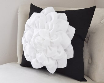 Decorative Throw Pillow White Dahlia Flower on Black Pillow Accent Pillow Throw Pillow Toss Pillow