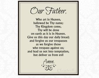 Our Father Prayer Print, 5x7 8x10, The Lord's Prayer, Catholic Wall Art, Faith