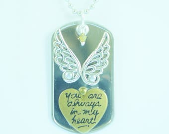 Always in My Heart Riveted Dog Tag Necklace
