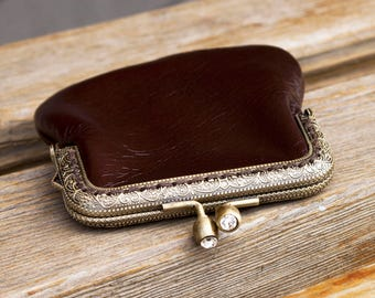 Brown leather frame purse Metal frame pouch Brown leather pouch Leather wallet   Small coin  pouch   Bags and Purses Pouches and Coin Purses