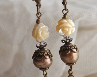 Heirloom leverback earrings with mocha colored brown pearls, cream mother of pearl roses vintage brass - Sepia colors  Victorian jewelry
