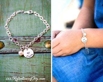 Girls Bracelet Custom • Girl Name Bracelet Custom Bridesmaid Gift Dainty Heart Charm • Flower Girl Gift 14K Gold Bracelet Sterling Silver