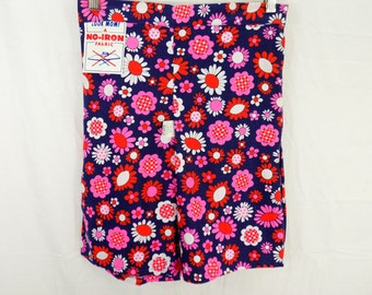 Deadstock Vintage 60s High Waisted Floral Shorts Girls XL / Women's S