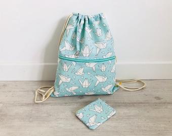 Mochila, PAJARITAS, JAPÓN, mochila saco, mochila joven, verde mint, regalo, amarillo, bolsa playa, bolsa gimnasio, monedero, cordón, mujer