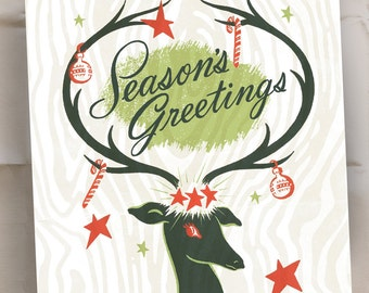 Seasons Greetings - Holiday Cards - Reindeer Christmas Notes - Set of 20 - Ready to Ship