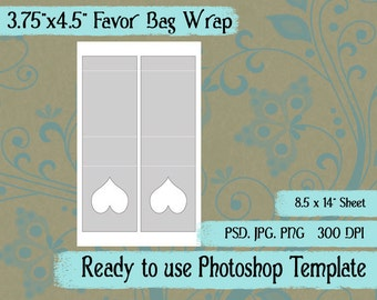 """Party Favor Bag  Candy Bag Wrap Digital Collage Photoshop Template, 3 3/4"""" x 4 1/2"""", Heart Window"""