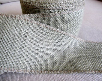 3 inch SAGE Burlap ribbon/ 5 yard piece