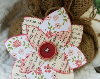Paper Flower Embellishments with Vintage Buttons - 5