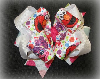 Elmo Hairbow, Triple hair bow, Abby Hair Bow, 5 or 6 inch bow, Boutique Bows, Baby Headband, Big Boutique Bow, Birthday Party Bows, 1st bday